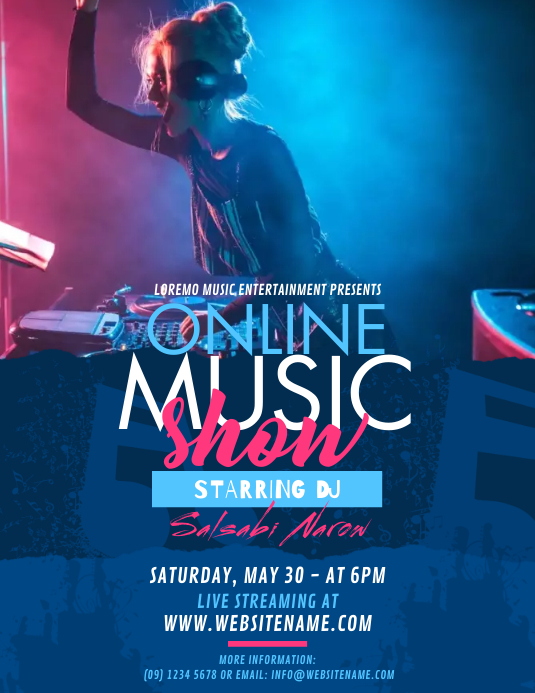 Online Music Show Flyer Volante (Carta US) template