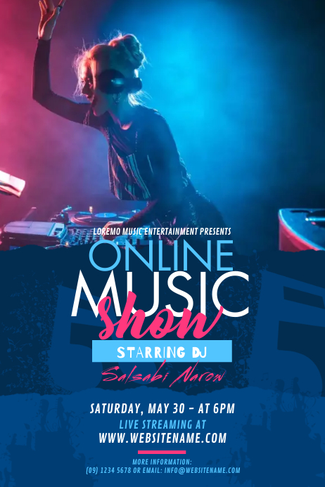 Online Music Show Poster Póster template