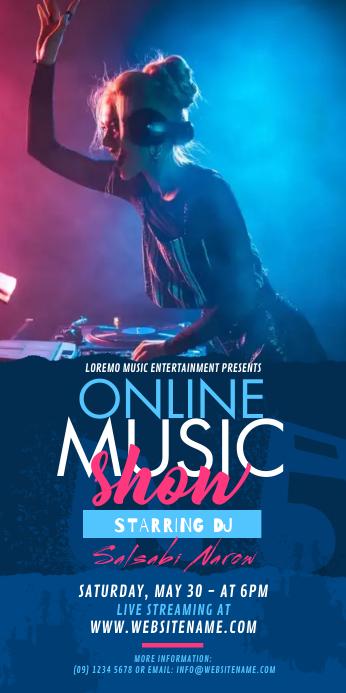 Online Music Show Rollup Banner Cartel enrollable de 3 × 6 pulg. template
