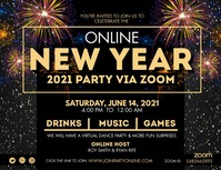 Online New Year Zoom Party Banner Flyer (Letter pang-US) template