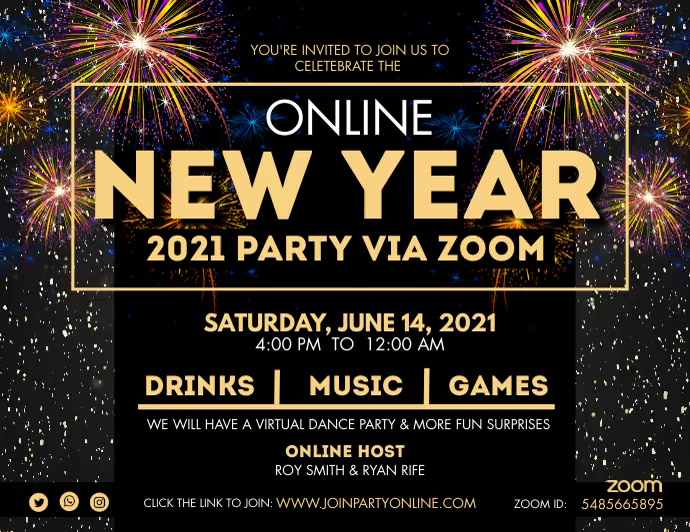 Online New Year Zoom Party Banner Pamflet (Letter AS) template