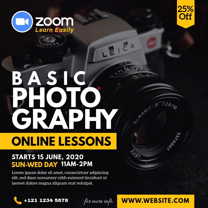 Online Photography Lessons Advert Instagram Post template