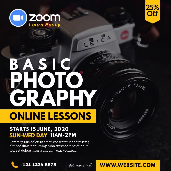 Online Photography Lessons Instagram Post template
