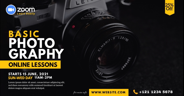 Online Photography Lessons Facebook Shared Image template