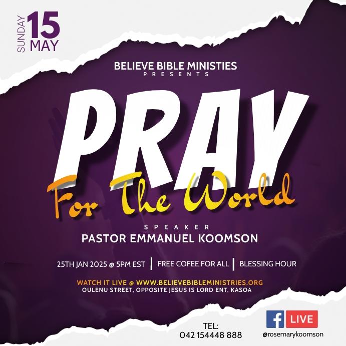 Online Prayers Poster Template Free Persegi (1:1)