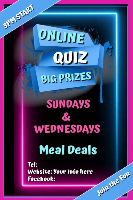 Online QUIZ Poster template