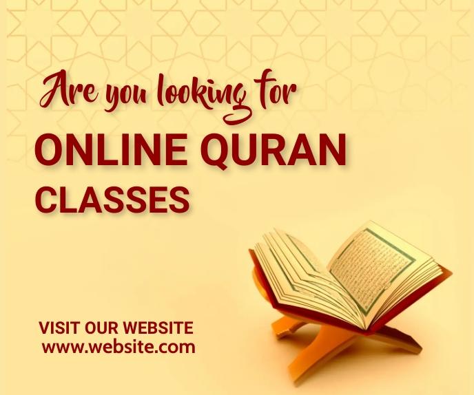 Online quran classes, islamic, event,retail Большой прямоугольник template