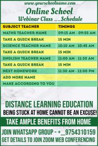 Online School Webinar Class Schedule Template Banner 4' × 6'