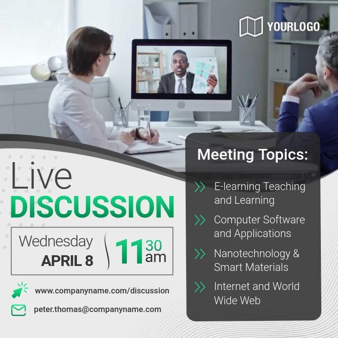 Online Seminar Invitation Square Video Vierkant (1:1) template