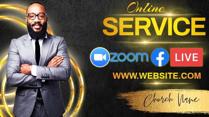 online service sermon post template Twitch Banner