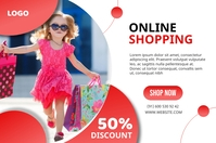 Online shopping 50% discount web banner template