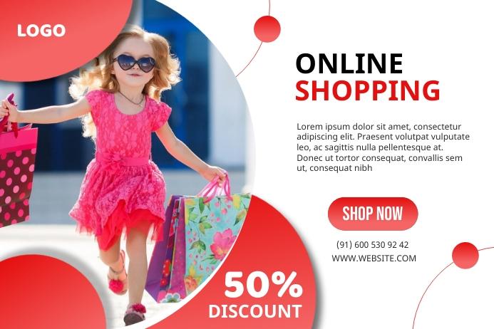 Online shopping 50% discount web banner 横幅 4' × 6' template