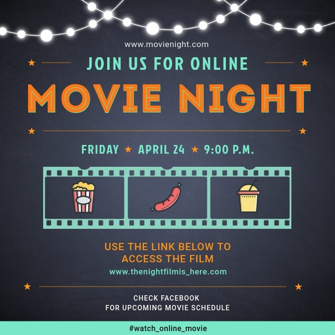 Online Social Media Movie Watch Party Invite Instagram na Post template