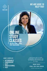 Online Study Classes Flyer Template Poster