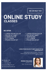 Online Study Tutor Classes Flyer Template