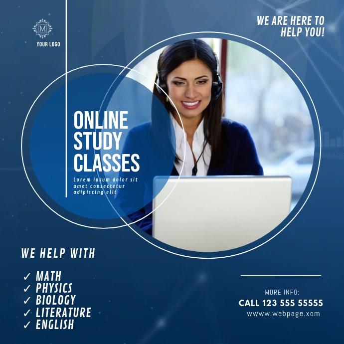 Online Study Tutor Classes video ad Vierkant (1:1) template
