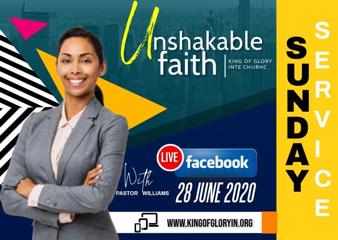 Online Sunday church flyer Postkort template