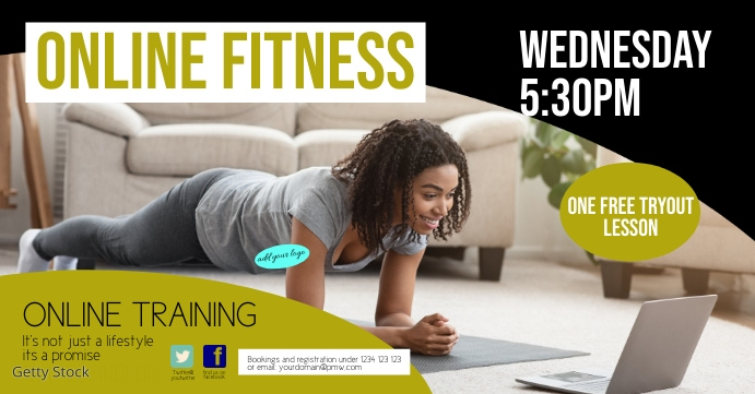 Online Training fitness cover marketing sport Sampul Acara Facebook template