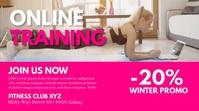 Online Training workout fitness cover header Digitale Vertoning (16:9) template