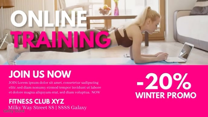Online Training workout fitness cover header Digitale display (16:9) template