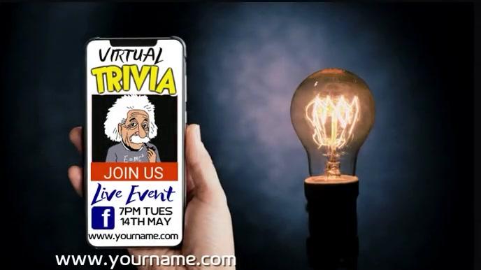 Online Trivia Quiz Night Video Template Digitalt display (16:9)