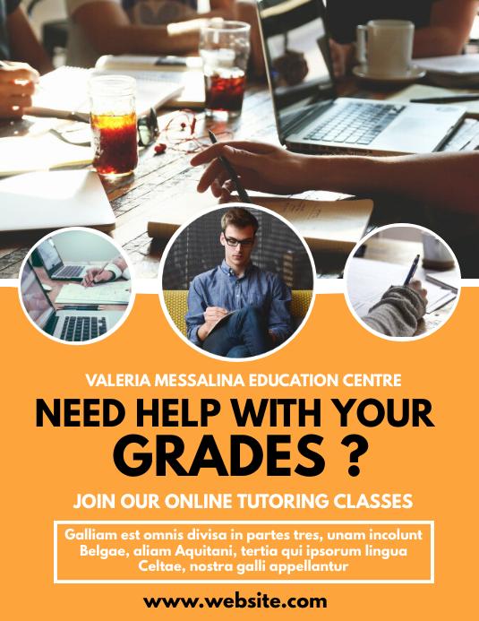 Online tutoring classes flyer advertisement Ulotka (US Letter) template