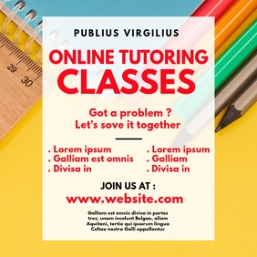 Online tutoring classes instagram post template