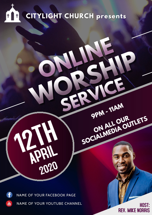 ONLINE WORSHIP FLYER A3 template