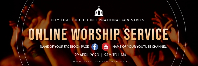 online worship service 横幅 2' × 6' template