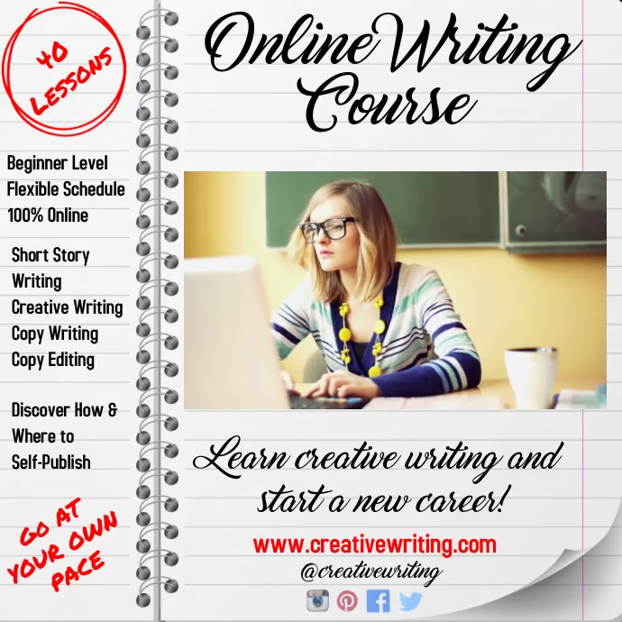 Online Writing Course Video Template Instagram Post