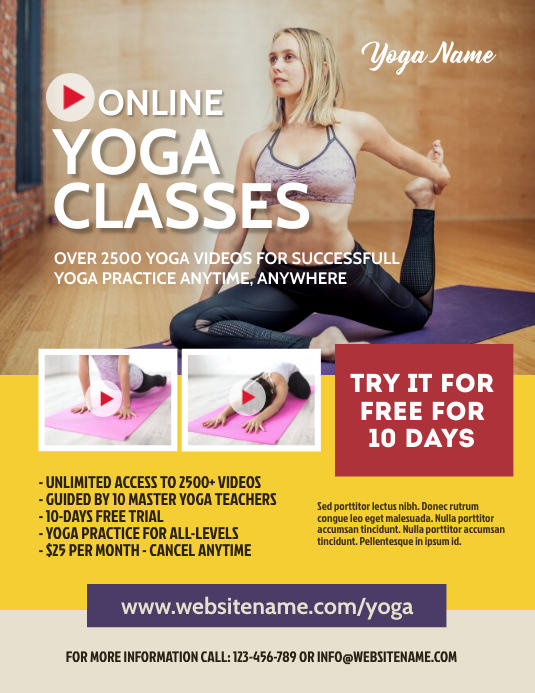 Online Yoga Classes Flyer Template Postermywall