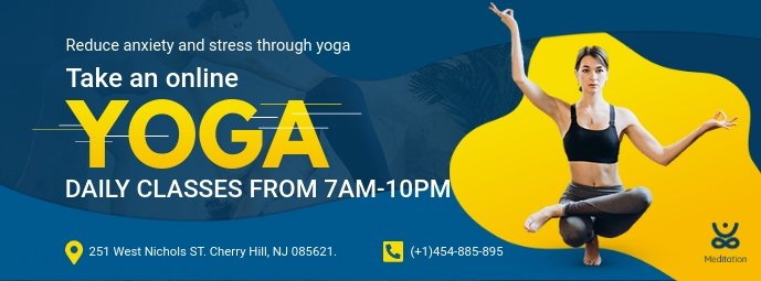 Online Yoga Fitness Class Facebook Banner Template Postermywall