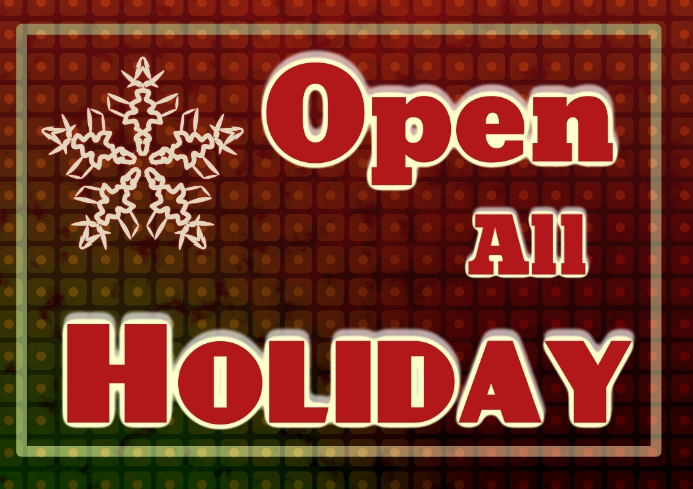 Open all days winter holiday opening hours