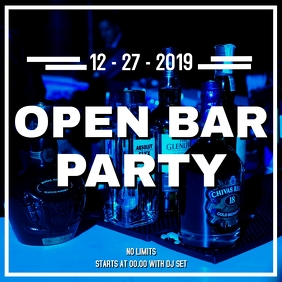 Open bar Party instagram post advertisement