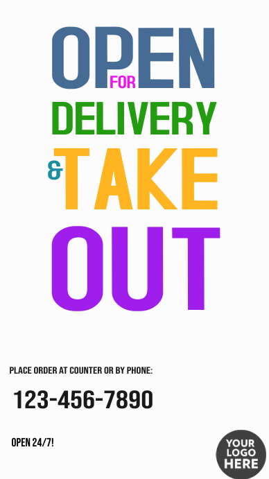 Open for delivery and take out poster flyer Instagram-verhaal template