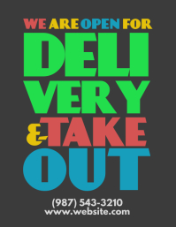 Open for delivery and take out retro flyer