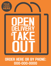 Open for delivery take out flyer poster