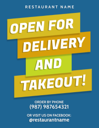 Open for delivery takeout front poster