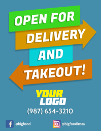 Open for delivery takeout front poster Flyer (US Letter) template