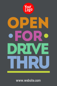 Open for drive thru colorful poster template