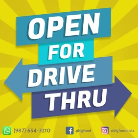 Open for drive thru colorful square flyer ad