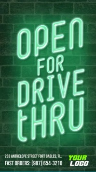 Open for drive thru neon sign instagram story