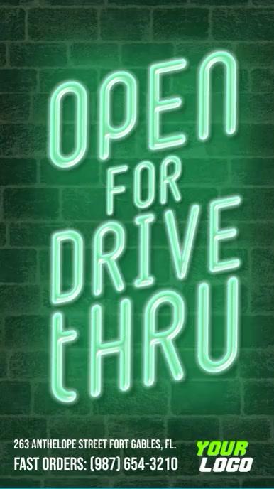 Open for drive thru neon sign instagram story Instagram-verhaal template