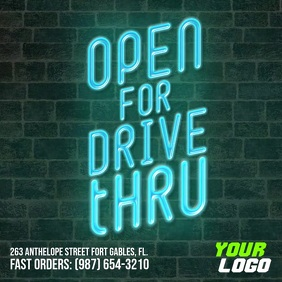 Open for Drive Thru square instagram video ad template