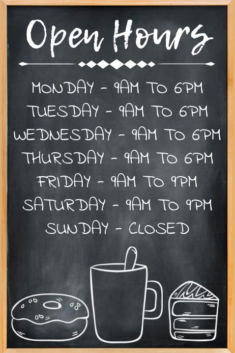 Open Hours Poster Template Plakat