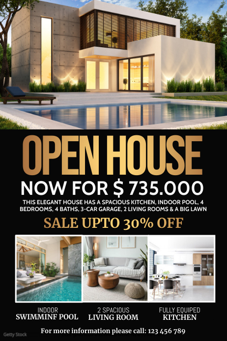 open house ad, real estate flyer Poster template