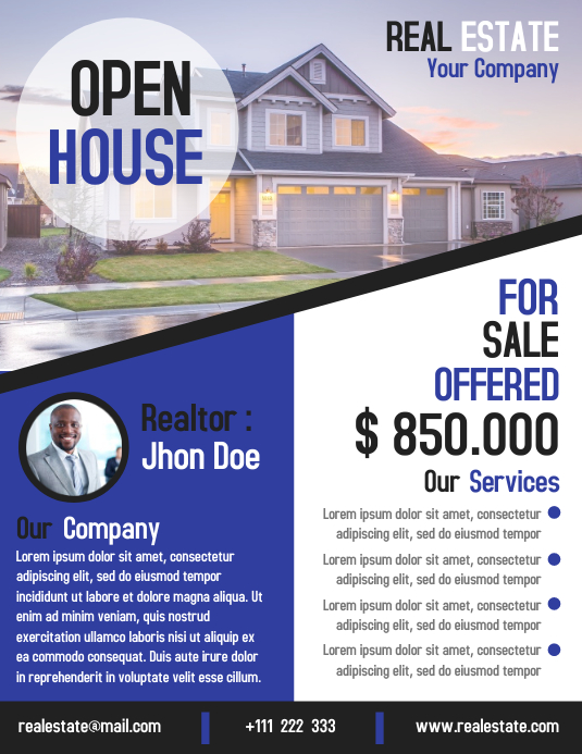 Open house business flyer real estate template design