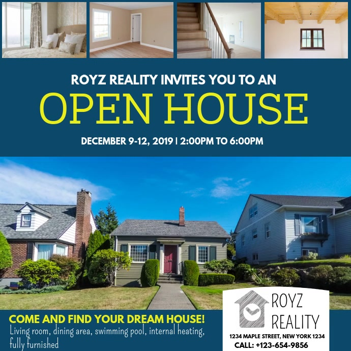 Copy of OPEN HOUSE | PosterMyWall Home Street Design Basic Dreamhouse on