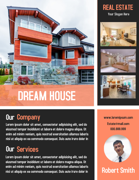 Open House Property Flyer Real Estate Poster Volante (Carta US) template