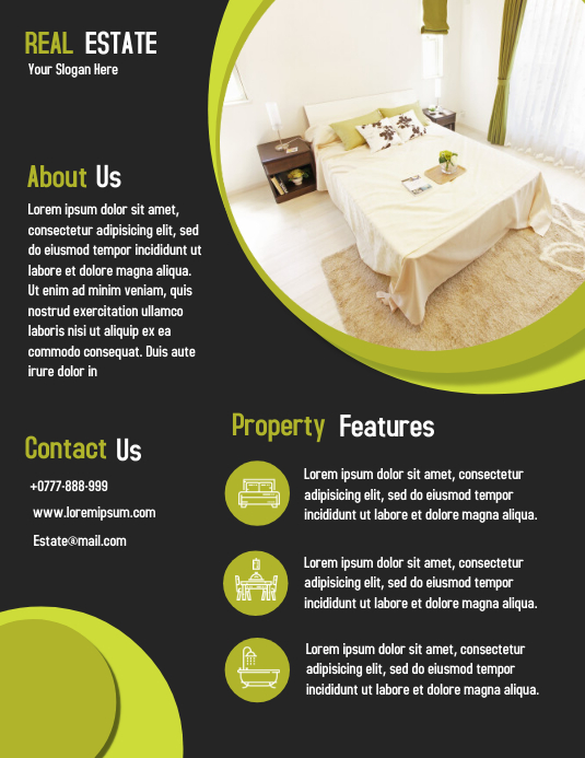 Open House Property Flyer Real Estate Poster ใบปลิว (US Letter) template